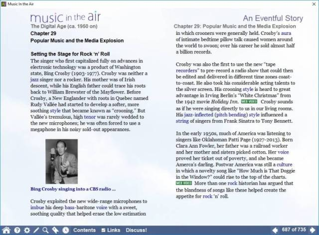 A screenshot of a page introducing popular music, with a photo of Bing Crosby and a video link