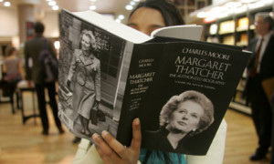 A reader leafs through Charles Moore's Margaret Thatcher – The Authorized Biography, Volume One: Nor