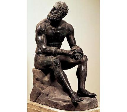 """""""Boxer at Rest,"""" end of the 4th century B.C. to the 2nd century B.C., Museo Nazionale Romano, Rome"""