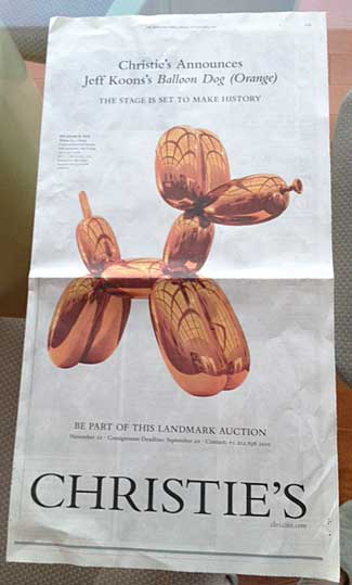 """""""The stage is set to make history"""": Christie's full-page NY Times ad for Koons' """"Balloon Dog (Orange) Photo by Lee Rosenbaum"""