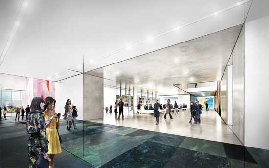 Concept sketch of view of the lobby, looking west © 2014 Diller Scofidio + Renfro