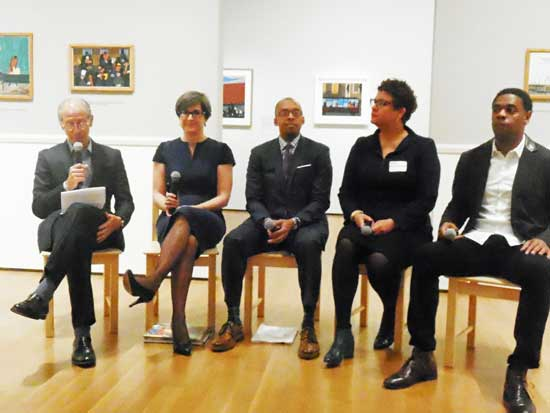 L to R: MoMA director Glenn Lowry; curator Leah Dickerman; Khalil Gibran Muhammad, Director, Schomburg Center for Research in Black Culture; Elizabeth Alexander, chancellor of the Academy of American Poets; Terrance McKnight, a host on classical music station WQXR Photo by Lee Rosenbaum