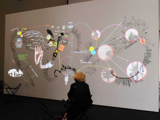Raad's convoluted wall diagrams Photo by Lee Rosenbaum