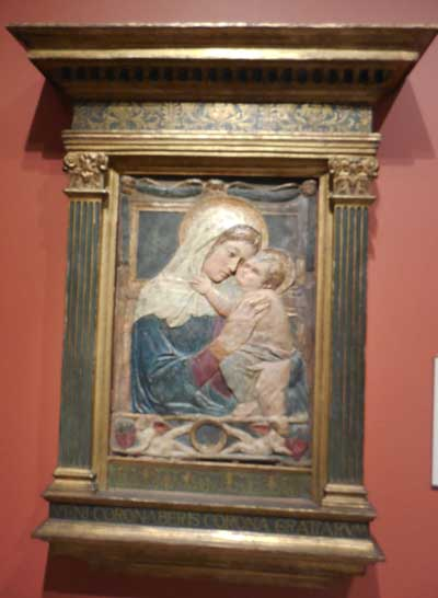 """Donatello and Workshop, """"Mother and Child,"""" terracotta relief Photo by Lee Rosenbaum"""