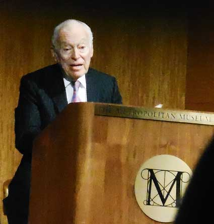Leonard Lauder, speaking about his Cubist collection last year at the Metropolitan Museum Photo by Lee Rosenbaum