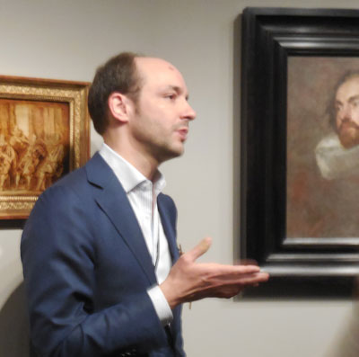 """Stijn Alsteens, being eyed by """"Portrait Study of Man, Looking Left,"""" 1634, private collection, which """"resurfaced in 2000"""" on the BBC's """"Antiques Roadshow"""" Photo by Lee Rosenbaum"""