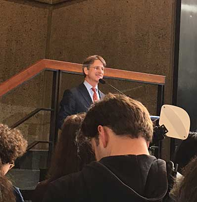 Tom Campbell, the Met's director, speaking at press preview for Met Breuer Photo by Lee Rosenbaum