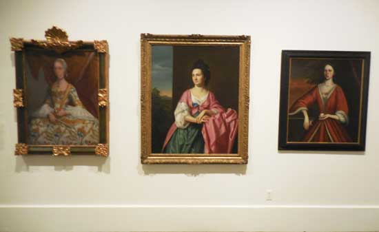 """Copley, """"Mrs. Sylvester (Abigail Pickman) Gardiner, c. 1772, between works by Miguel Cabrera and (attributed to) Nehemiah Partridge"""