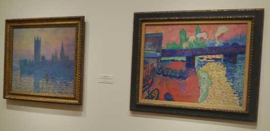"""L: Claude Monet, """"The Houses of Parliament, Sunset,"""" 1903 R: André Derain, """"TK,"""" 1906"""