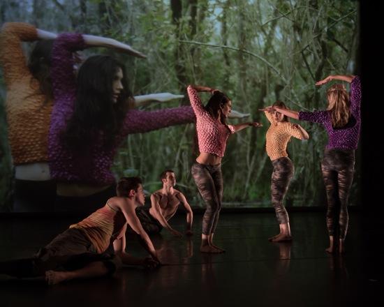 David Parsons's Dawn to Dusk. (L to R) Eric Bourne, Steven Vaughn, Elena D'Amario, Meliss Ullom, Abby Silva Gavezzoli. Photo: Eric Bandiero