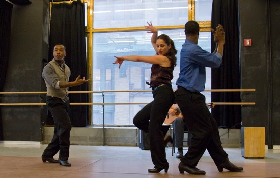 (L to R): Gene Shields, Noellia Garcia Carmena, and Shamar Rooks of the New Ballet Ensemble and School. Photo: Nicolette Overton