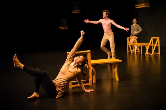 (L to R) Maggie Thom, Benjamin Asriel, and Kayvon Pourazar in Juliana F. May's Commentary = not thing. Photo: Ian Douglas