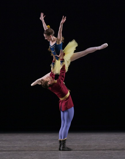 Ashley Bouder and Andrew Veyette in the Fourth Campaign of Balanchine's Stars and Stripes. Photo: Paul Kolnik