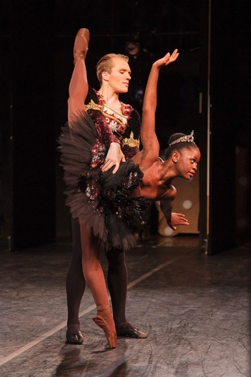 Michaela DePrince and Samuel Wilson in the duet from Swan Lake, Act III. Photo: Karli Cadel.