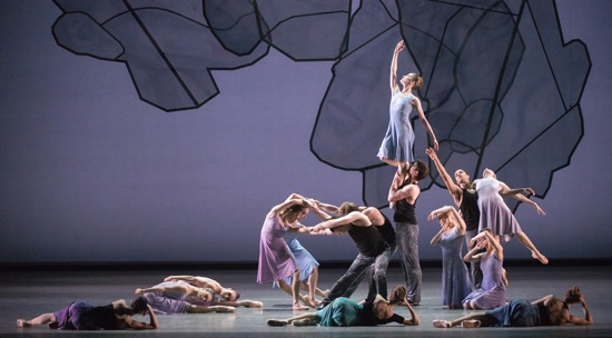 The final tableau of Chamber Symphony. Foreground (L to R): Paloma Herrera, Julie Kent, and Isabella Boylston. Photo: Marty Sohl