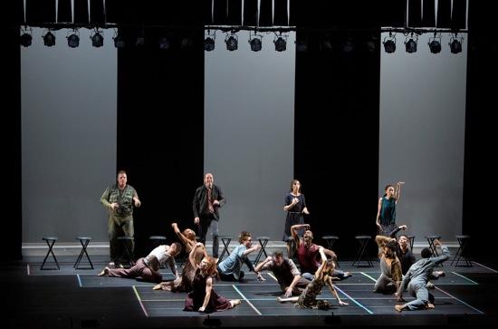 Unleashing A Rite. Foreground: Bill T. Jones/Arnie Zane Dance Company. At rear, L to R: SITI Company's Leon Ingulsrud, Stephen Duff Webber, Akiko Aizawa, and Ellen Lauren. Photo: Cory Weaver