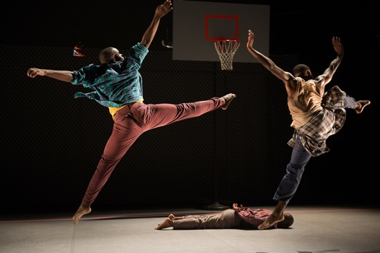 "Maleek Washington (L) and Jeremy ""Jae"" Neal. On the floor: Kyle Abraham. Photo: Christopher Duggan"