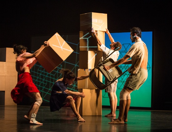 Building and holding onto. (L to R): Francesca Romo, Caroline Fermin, Dan Walczak, and Matthew Perez in Andrea Miller's Fold Here. Photo: Yi-Chun Wu
