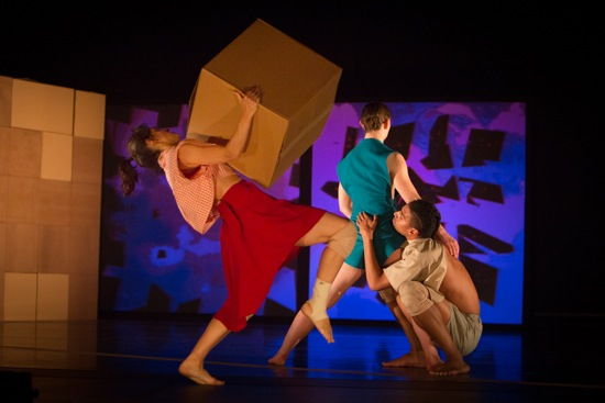 Francesca Romo with box, Allysen Hooks, and Matthew Perez in Fold Here. Photo: Yi-Chun Wu