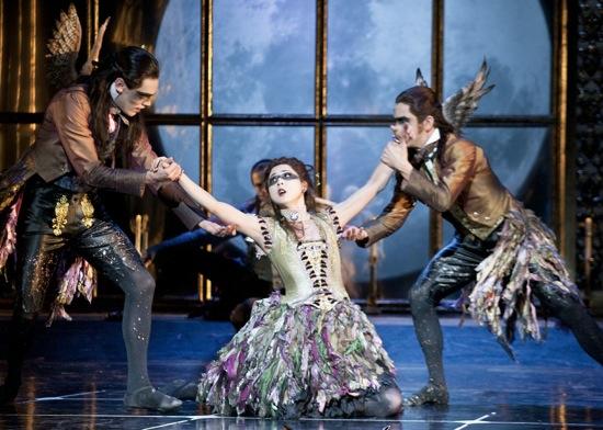 Three of the Fairies from Matthew Bourne's Sleeping Beauty. (L to R): Tom Jackson Greaves, Mari Kamata, and Joe Walkling. Photo: Simon Anand