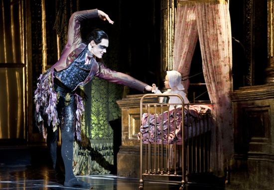 Tom Jackson Greaves as Fairy Tantrum and the infant Princess Aurora in Bourne's Sleeping Beauty. Photo: Simon Annand