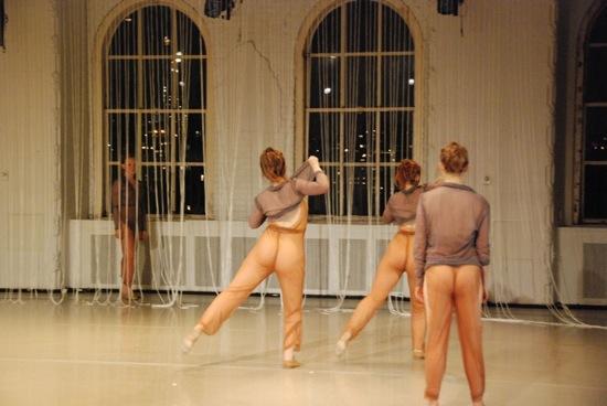 "Behind ""curtain"": Alice MacDonald. (L to R): Anneke Hansen, Ashley Handel, Emily Moore. Photo: Bryan Fox"