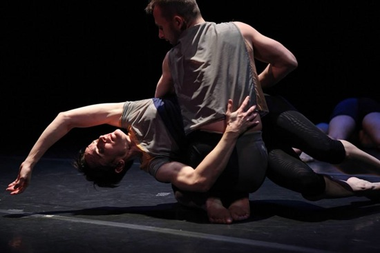 Zachary Leigh Denison holds Amy Miller in Gina Gibney's Dividing Line. Photo: Julieta Cervantes