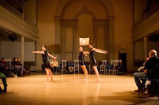 Lance Gries's IF Immanent Field (dress rehearsal). (L to R): Jimena Paz, Lance Gries, and Juliette Mapp. Photo: Ian Gibson