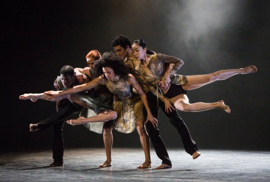 (L to R): Lloyd Knight, Blakely White-McGuire, Natasha Diamond-Walker, Lorenzo Pagano, Ying Xin in Nacho Duato's Depak Ine. Photo: Yi-Chun Wu.