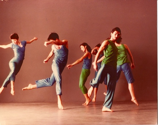 The original cast of Brown's Son of Gone Fishin'. (L to R): Eva Karzsag, Stephen Petronio, Vicky Shick, Randy Warshaw, and (hidden) Diane Madden and Lisa Kraus. Photo: Lois Greenfield