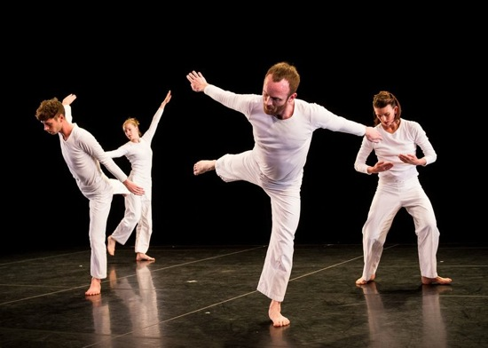Trisha Brown's Sololos. (L to R): Stuart Shugg, Jamie Scott, Neal Beasley, and Cecily Campbell. Photo: Ian Douglas