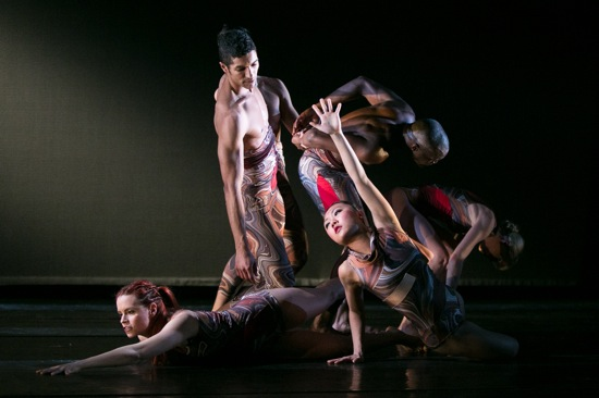 (L to R): Lisa Peluso, Justin Lynch, Mindy Lai, two dancers from a previous cast, and Clymene Baugher. Photo: Matthew a previous cast, and Clymene Baugher. Photo: Matthew Murphy