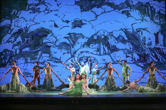 The happy ending of Acis and Galatea. Amid Mark Morris's dancers: Yulia Van Doren (foreground), Thomas Cooley (center rear), Isaiah Bell (rear left), and Douglas Williams (rear right). Photo: Richard Termine/Lincoln Center