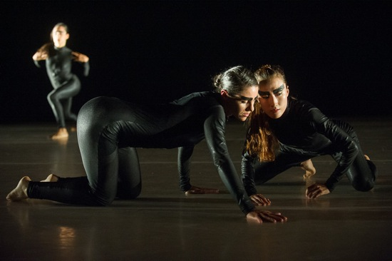 Candice Schnurr (L) and Hyerin Lee in LeeSaar's Grass and Jackals. At back: Motrya Kozbur (?) Photo: Christopher Duggan