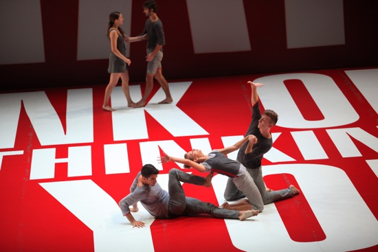 L.A. Dance Project members in Benjamin Millepied's Reflections. (L to R, foreground): Morgan Lugo, Rachelle Rafailedes, and Nathan Makolandra. At back: Julia Eichten and Aaron Carr. Photo: Julieta Cervantes