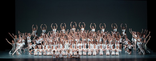 Students from the American Ballet Theatre Jacqueline Kennedy Onassis School in the final tableau of Alexei Ratmansky's Rondo Capriccioso. Photo: Marty Sohl