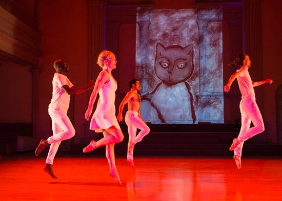 (L to R): Paul Hamilton, Leslie Kraus, Brandin Steffensen, and Jordan Morley in Keely Garfield's Wow. Photo: Yi-Chun Wu