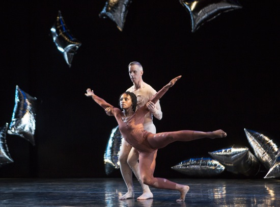 Andy Warhol's silver pillows share the stage with Davalois Fearon and Gino Grenek of the Stephen Petronio Company in Mer Cunningham's RainForest. Photo: Yi-Chun Wu