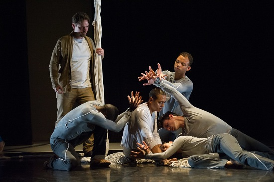 Jessica Lang's The Wanderer. Standing; baritone John Boehr. On floor (L to R): Randy Castillo, Clifton Brown, Jammie Walker, John Harnage, and Julie Fiorenza (lying down). Photo: Christopher Duggan