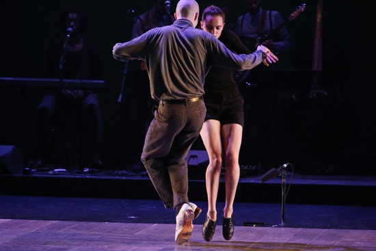 On their toes: Warren Craft and Michelle Dorrance in Myelination. Photo: Julieta Cervantes