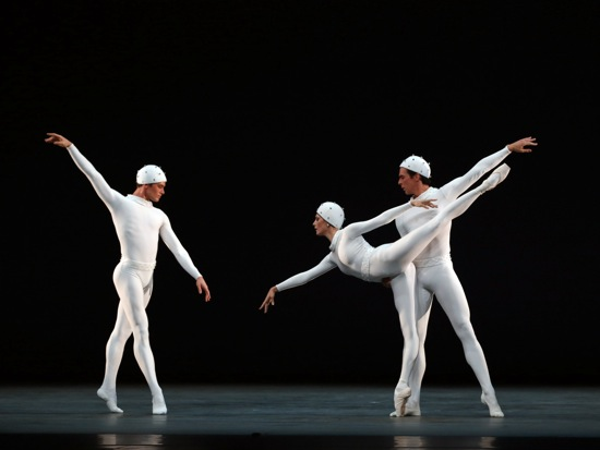 Frederick Ashton's Monotones II. (L to R): Cory Stearns, Veronika Part, and Thomas Forster. Photo: Marty Sohl