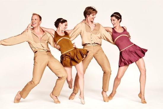 Twyla Tharp's Preludes and Fugues. L to R: Daniel Baker, Amy Ruggiero, Nicholas Coppula, and Eva Trapp. Photo: Ruven Afanador