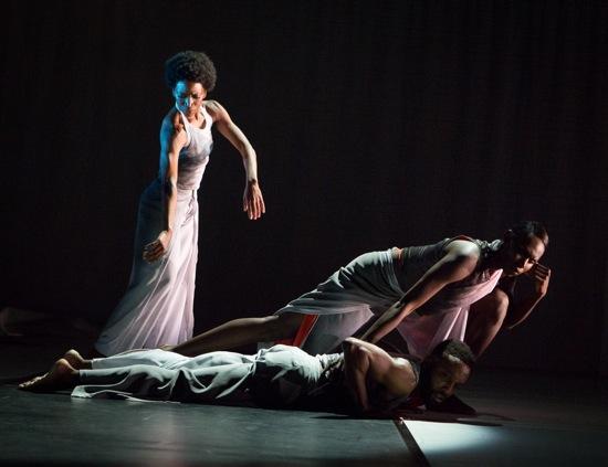 "(L to R): Tamisha Guy, Jeremy ""Jae"" Neal (prone), and Penda N'diaye in Abraham's Absent Matter. Photo: Yi-Chun Wu"