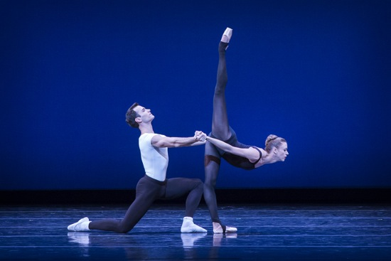 Jerome Tisserand and Lesley Rausch of Pacific Northwest Ballet in George Balanchine's Stravinsky Violin Concerto. Photo: © Lindsay Thomas.
