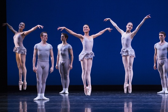 George Balanchine's Square Dance. (L to R): Cecilia Iliesu, Ezra Thomson, Price Suddarth, Angelica Generosa, Leah Merchant, Matthew Renko,