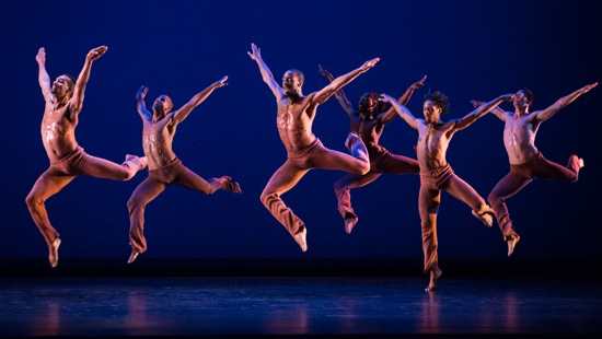 Dayton Contemporary Dance Company in Donald McKayle's Rainbow 'Round My Shoulder. L to R, front row: Demetrius Tabron, Joshua Ishmon, Quentin A. V. Sledge L to R, back row: Alvin Rangel, Devin Baker, Robert​ Pulido