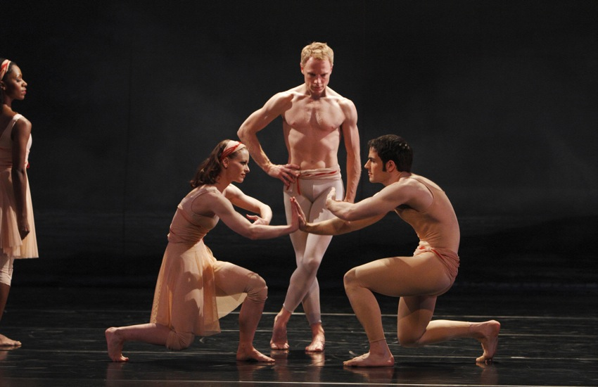 An earlier image of Paul Taylor's Spindrift. L to R: Michelle Fleet. Anna-Marie Mazzini, Michael Trusnovec, and Robert Kleinendorst. Photo: Paul B. Goode