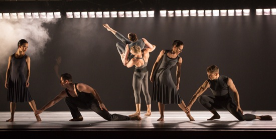 Larry Keigwin's Rush Hour performed by Paul Taylor dancers. (L to R): Madelyn Ho, Robert Kleinendorst, Michael Trusnovec, Heather McGinley, Eran Bugge, and Michael Novak. Photo: Yi-Chun Wu
