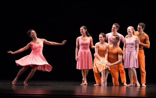 Paul Taylor's Esplanad. Michelle Fleet watched by (L to R): Parisa Khobdeh, Eran Bugge, James Samson (kneelng), Michael Apuzzo, Jamie Rae Walker, and Robert Kleinendorst. Photo: Yi-Chun Wu