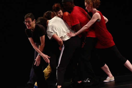 Yvonne Rainer's The Concept of Dust: Continuous Project—Altered Annually. (L to R): Yvonne Rainer, Patricia Hoffbauer, Emmanuèle Phuon, Pat Catterson, FDavid Thomson, and Emily Coates. Photo: Paula Court